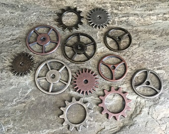 antiqued silver bronze copper watch gears steampunk jewelry charms findings sprockets wheels, lot of 12 pcs