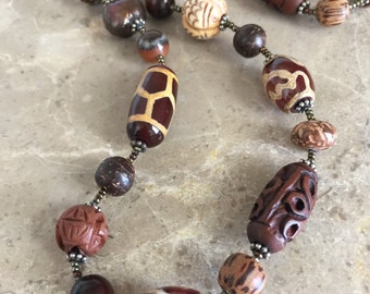 vintage tribal beaded necklace ceramic carved brown beige ethnic boho bohemian jewelry