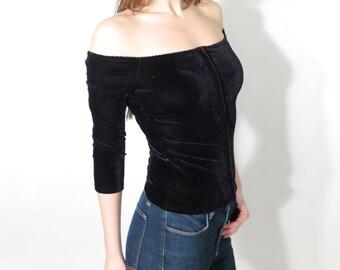 Vintage Sinequanone Paris Black Velvet Blouse T 1