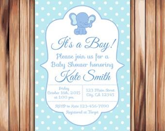 Elephant Baby Shower Boy Invitation -Digital Printable Invitation - Blue Babyshower -Personalized Printable Baby Shower (005)