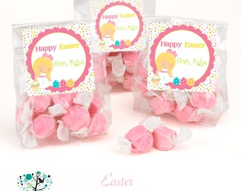 Cute Happy Easter girl egg hunt gift tags -Personalized Printable DIY File