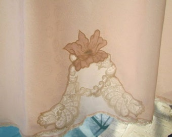 NATORI HALF SLIP New with tags deadstock bias cut satin seashell pink polyester Lace Size Medium HS143