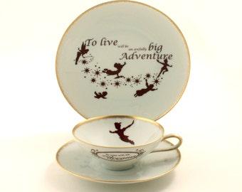SALE Peter Pan Tea Altered Cup Plate Live Adventure Vintage Porcelain J. M. Barrie Gold Rim Brown White