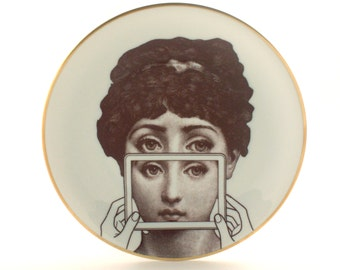 Altered Vintage Plate Porcelain Woman Tablet PC Computer Wall Art Decoration Lina Cavalieri Hand White Brown Romantic Whimsical