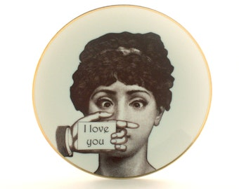 """I Love You, Porcelain Vintage Plate, 7.48"""" Face Lina Cavalieri, Woman Plate, Mothers Day, Valentines, Kitchen Decor, Dishware Wedding Gift"""