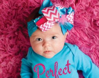 Perfect Pink Glitter Baby Girls Sparkle Clothes Girls Aqua Bodysuit