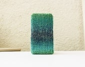 Ombre iPhone 6 Sleeve in ocean blue and green - Soft Smartphone Case - Phone Wallet - Crochet iPhone Accessory - Soft Cozy Case Gift for him