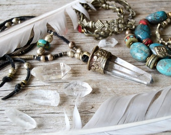 Bohemian crystal necklace, quartz point necklace, bohemian necklace, crystal necklace, boho jewelry, hippie jewelry