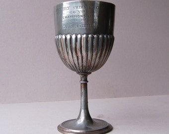 Antique silver plated sports trophy cup Engraved trophy cup Silver swimming trophy Vintage home decor