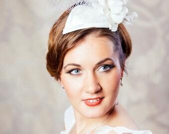 SALE - Bridal Dupioni Silk Fascinator with Hand Made Flower - White Bridal Teardrop Fascinator - White Wedding Cocktail Hat