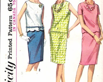 """Vintage 1965 Simplicity 5956 Two-Piece Dress Sewing Pattern Size 12 Bust 32"""" UNCUT"""