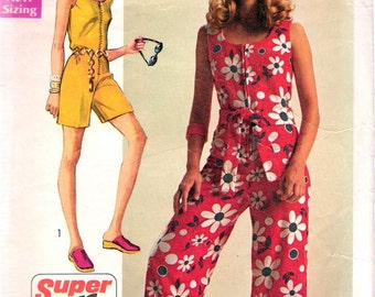 Vintage 1970 Simplicity 8787 Super Jiffy Jumpsuit in Two Lengths Sewing Pattern Size 8 Bust 31 1/2""