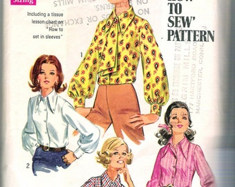 """Vintage 1969 Simplicity 8299 Mod Blouse & Ascot """"How To Sew"""" Sewing Pattern Size 12 Bust 34"""""""