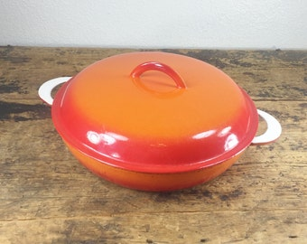 Vintage Belgium Orange Descoware Pan / 3 Qt Quart Round Lidded Dutch Oven or Casserole Pan in Flame Red Orange Enameled Cast Iron