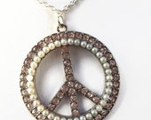 Limited Edition Peace Necklace, RhinestonePeace Sign, Peace Sign Pendant, Pearl Peace Sign Pendant