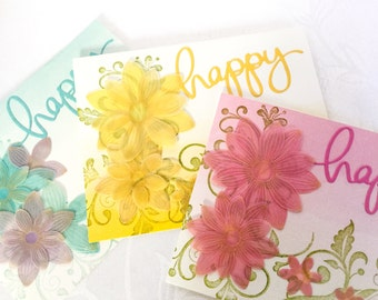 Feminine Handmade cards: Happy Mothers Day - happy birthday - cards for her - wedding cards - moms birthday - cards for wife - girlfriend