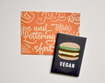 Strong Refrigerator Magnet: VEGAN, Veggie Burger, Black Bean Burger, Vegetarian