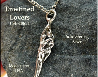 Sterling Silver Lovers Necklace, .925 Entwined Wedding Jewelry, Twin Flame / Soul Mate, Handfasting Charm-Pendant Necklace - SE-1861