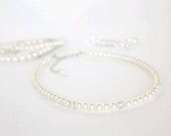 Bridal Necklace Bracelet Earring Set Ivory Pearls Wedding Jewelry