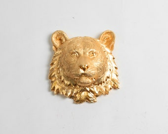 White Faux Taxidermy - The Laurel in Gold - 1 Gold Mini Resin Tiger Head- Resin White Faux Taxidermy- Chic & Trendy