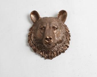 Bear Head Wall Mount - The Maura Mini Bronze Faux Bear Head Bust Wall Art by White Faux Taxidermy Animal Heads - Chic Bear Wall Decor