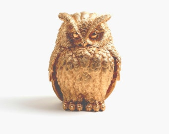 Owl Home Decor - The Chubby Little Gold Owl - Gold Barn Owl Figurine - Faux Animal - Tabletop Accent Faux Owl Head by White Faux Taxidermy