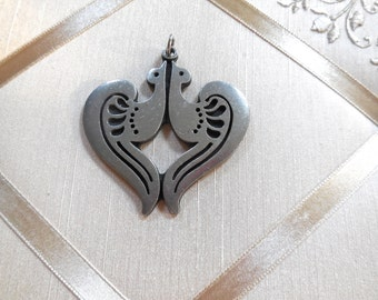 Vintage 60s Pewter Heart Pendant Made of Two Birds by R Tennesmed of Sweden