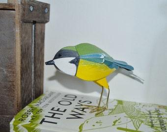 Great Tit Bird Sculpture, woodland bird paper art