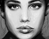 Printable print of original digital painting, Sara Sampaio, digital print, model, black and white painting, freckles, digital art