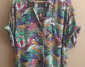 Vintage Karen Kane Blouse/ 1990's Abstract/ Colourful/ Psychedelic/ Camp Shirt/ Short Sleeve/ Collared Shirt/ Printed Blouse/ 90's Blouse