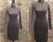 Vintage Velvet Geometric Print Dress/ Key Hole Dress/ Mock Neck/ Key Hole Cutout/ Fitted 70s Dress/ Long Sleeve Dress/ Velvet Dress/ Madmen
