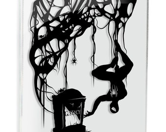 Spiderman - Gwen Stacy Grave // silhouette handcut paper craft unique wall art love artwork
