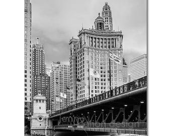 Chicago Photography, Chicago Architecture, DuSable Bridge, Michigan Ave, Chicago River Downtown Bridge, Art Deco, Black & White Photo Print