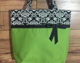 Tote Bag/ Market Bag/Shopping Bag/Green Canvas Tote/FREE SHIPPING