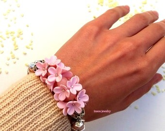 Pink Bracelet,  Flower Bracelet, Pink Jewelry, Romantic Bracelet, Jade Jewelry, Gift For Her, Spring Jewelry, Wedding Jewelry, Floral