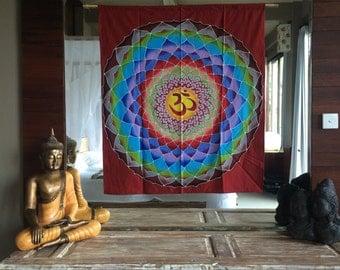 Summer sale 20%Off coupon code: SUMMERSALE2017 Tapestry / Lotus om batik / handpainted  / wall hanging  / yoga decor / mandala