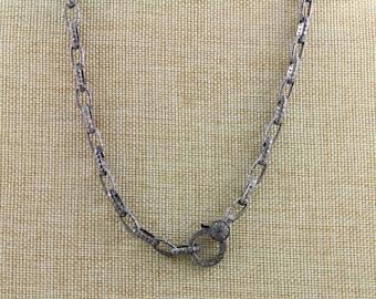 Pave Diamond Chain, Diamond Link Chain, Pave Link Necklace, Diamond Link Necklace, Pave Chain, Diamond Chain w/ Diamond Clasp. (PAV/CHN/03)