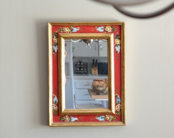 Vintage Mirror Gold Leaf and Red with Hand Painted Leaves