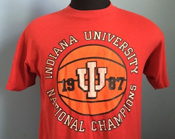 80s Vintage Indiana Hoosiers University 1987 National Champions T-Shirt - LARGE