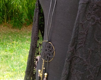 Boho crochet dreamcatcher necklace, black, with leaf charms and tassels
