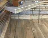 "QUICK SHIP-14"" x 45"" weathered barnwood console table or entry table with steel hairpin legs."