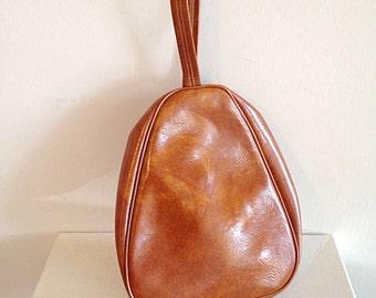 SALE!! Vintage 1970s Groovy Oval Cocoon Vegan Leather Handbag Purse Retro Hippie Boho