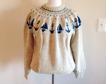 Vintage Hand Knit Nautical Anchor Sweater Ladies XL or Mens Large