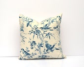 Blue Bird Toile Pillow Cover   Blue, Navy, Ivory   Square Or Lumbar, Many Sizes Available