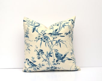 Blue Bird Toile Pillow Cover | Blue, Navy, Ivory | Square Or Lumbar, Many Sizes Available