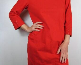 Rose Red Mod Minimal Vintage Style Shift Dress Size Medium