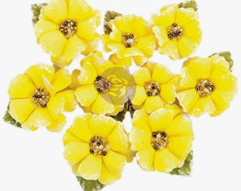 Yellow PAPER FLOWERS, Yellow Craft Flowers, Prima Flowers, Prima Tropicalia Flowers, Lemon Yellow Flowers, Tropical Paper Flowers,