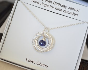 90th Birthday gift for mom, Gift for grandma, 90th Birthday gift for women, Sapphire necklace, Mom jewelry, Jewellery gift, 9th Anniversary