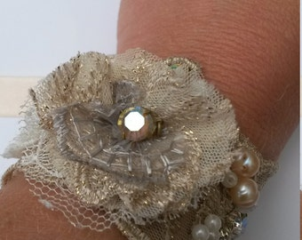 Stunning bespoke, gold, lace, cuff, bridal, wedding, couture, handmade jewelry, mother of the bride