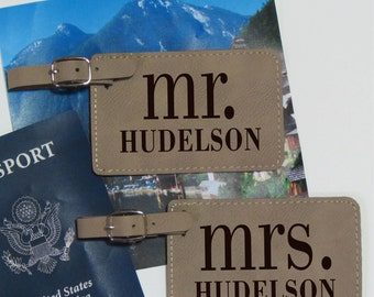 Mr. & Mrs. Personalized Luggage Tags - Set of 2 - Personalized Luggage Tag Set